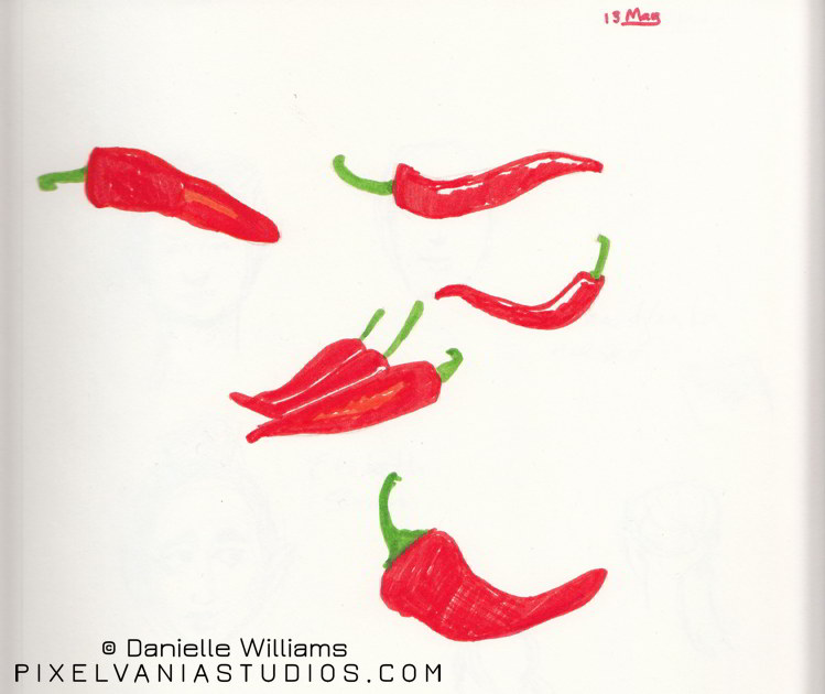 Peppers in marker (the long skinny red ones)