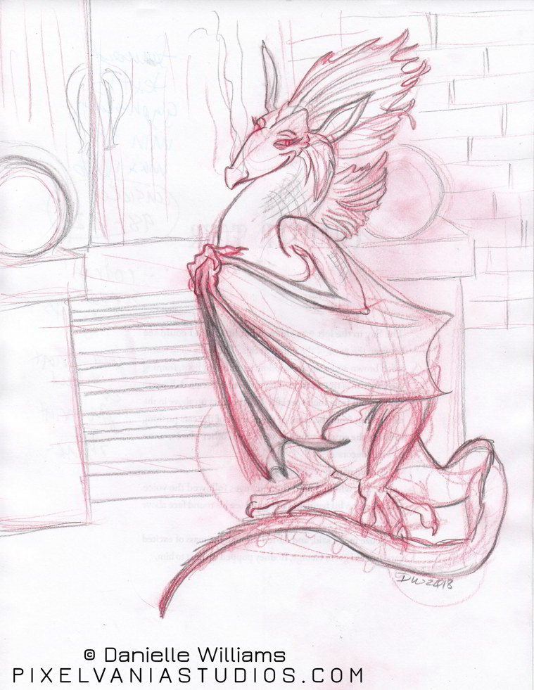 Col-Erase pencil drawing of a dragoness with flutterering eyelashes, crazy big fin hair, and bat wings, in front of some stone stairs