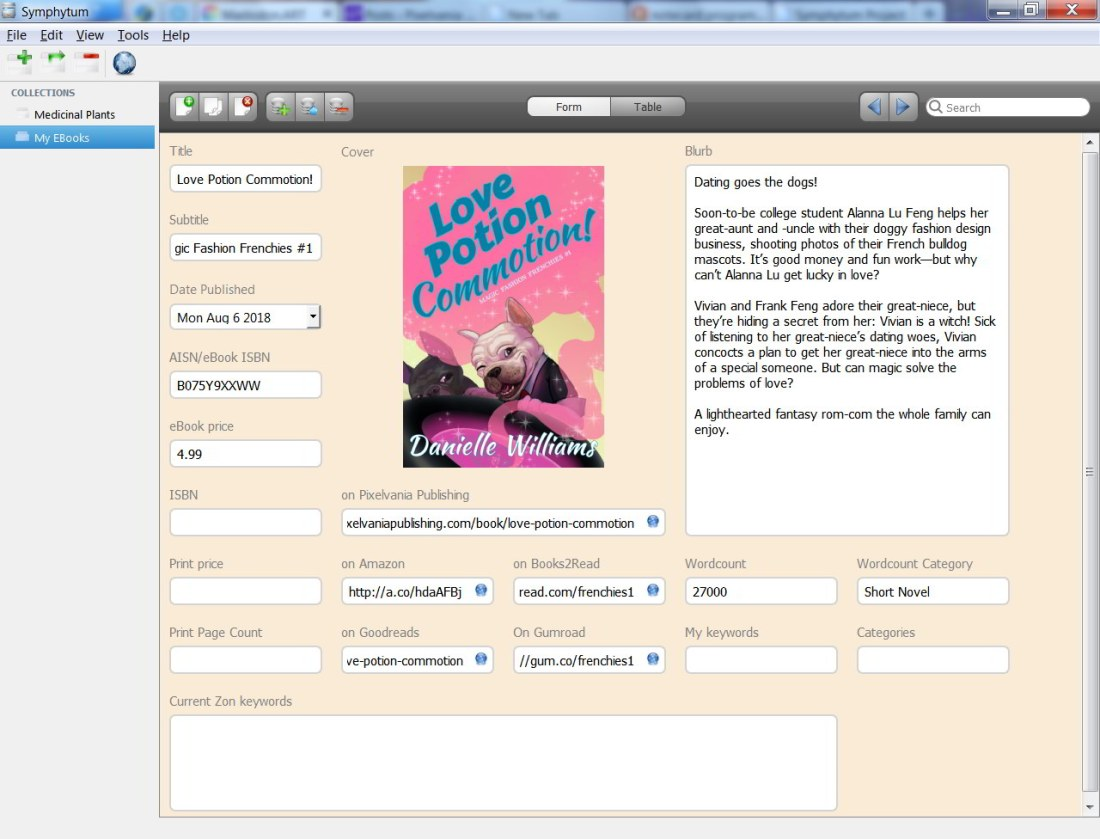 Screenshot of Symphytum Personal Information Manager
