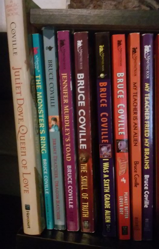 Spines for Bruce Coville's MAGIC SHOP series (and also a couple from I WAS A SIXTH GRADE ALIEN)