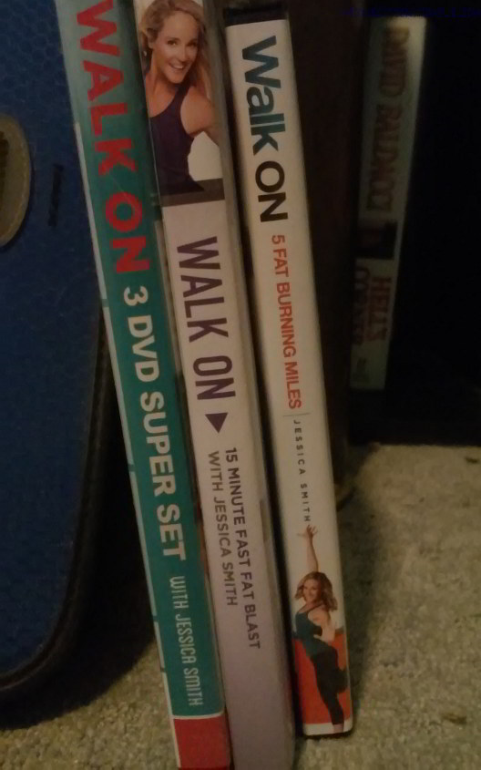DVD spines for Jessica Smith's WALK ON workout DVDs