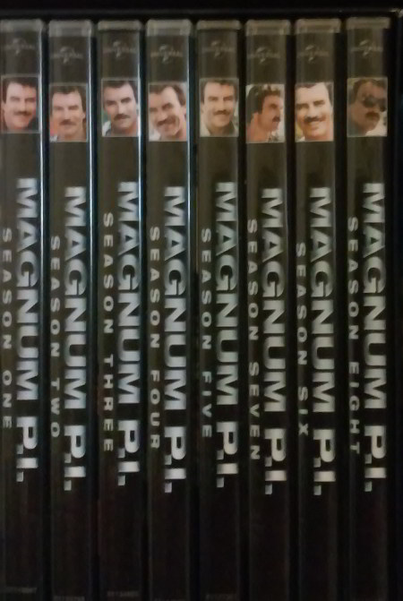 Spines of the MAGNUM, PI DVD Boxed set