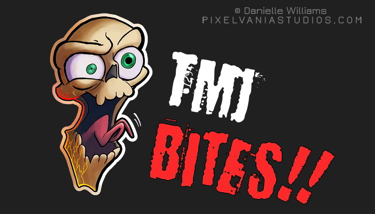 "A toony skull with cracks in its jaw screams, ""TMJ BITES!!"" on a dark background"