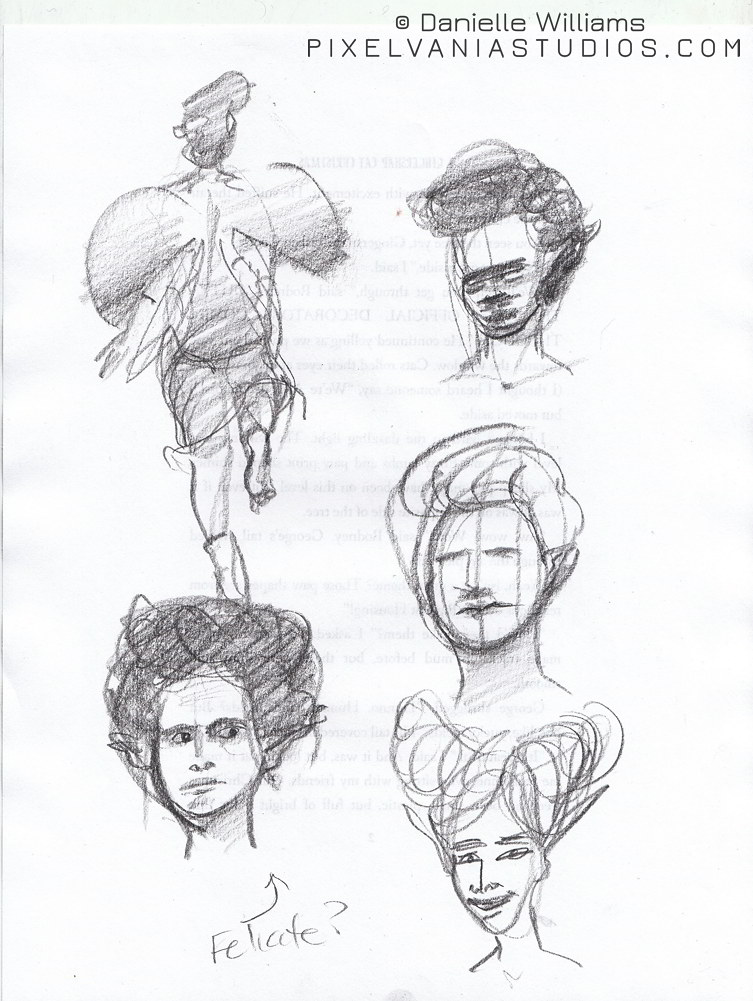 Pencil sketches of faerie beetle wings, hairstyles