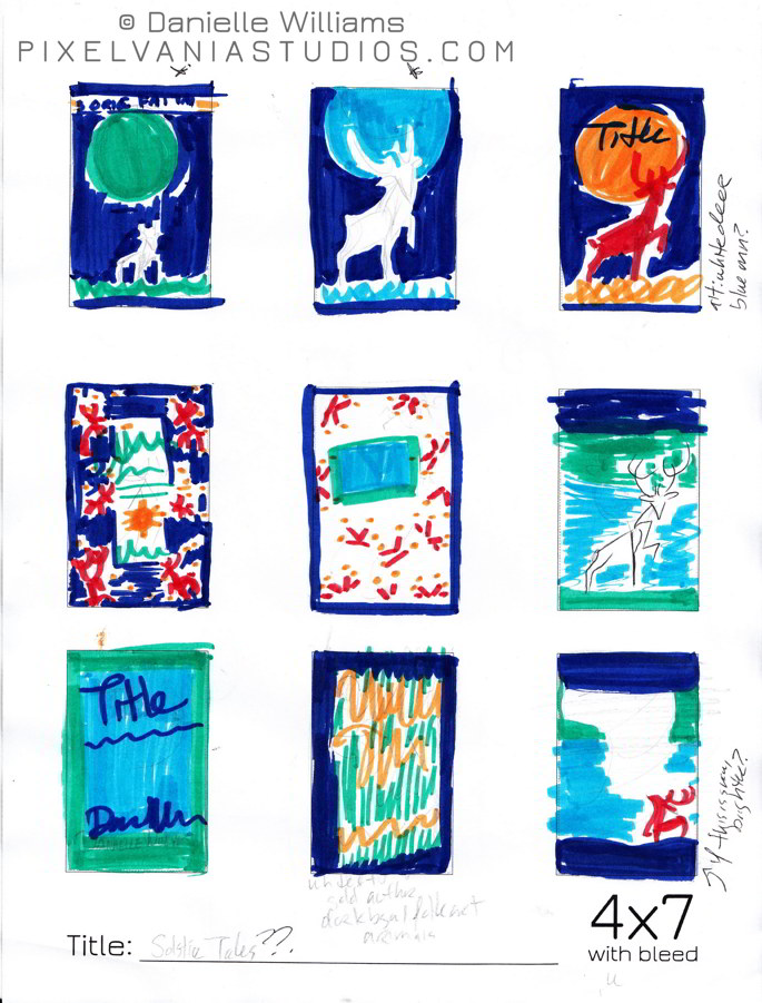 Cover design thumbnails for MIDWINTER MAGIC, done in Crayola Marker (Book Cover Behind the Scenes)