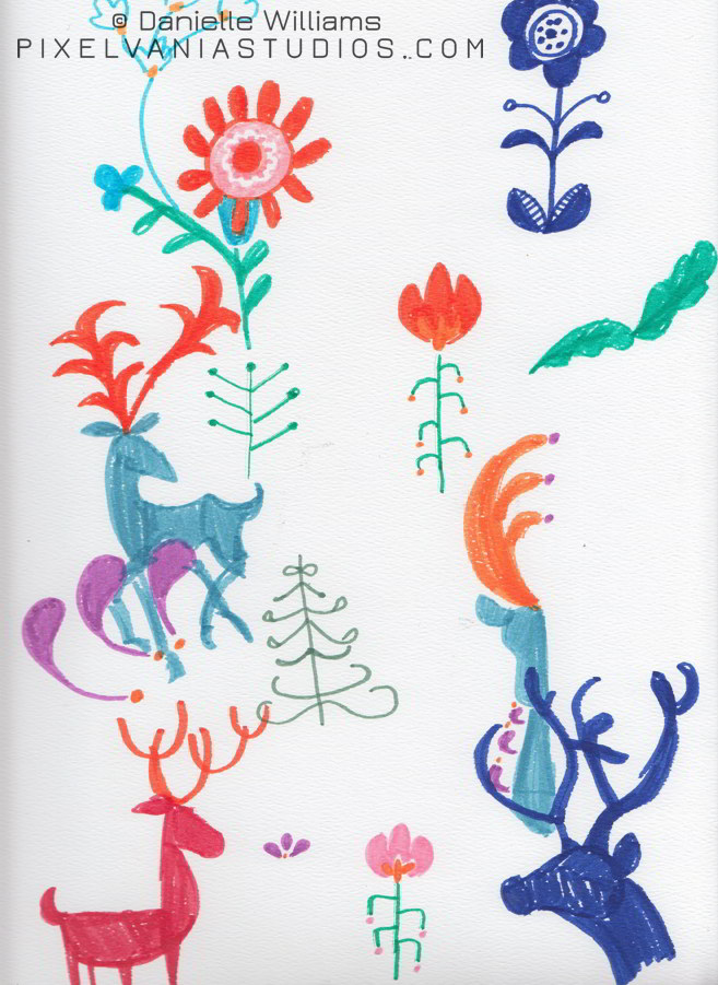 Attempts at folk art style reindeer and flowers (Book Cover Behind the Scenes)