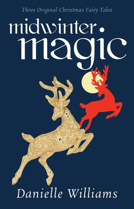 MIDWINTER MAGIC mockup - dark blue bg, reindeer sihouettes, and typography (Book Cover Behind the Scenes)