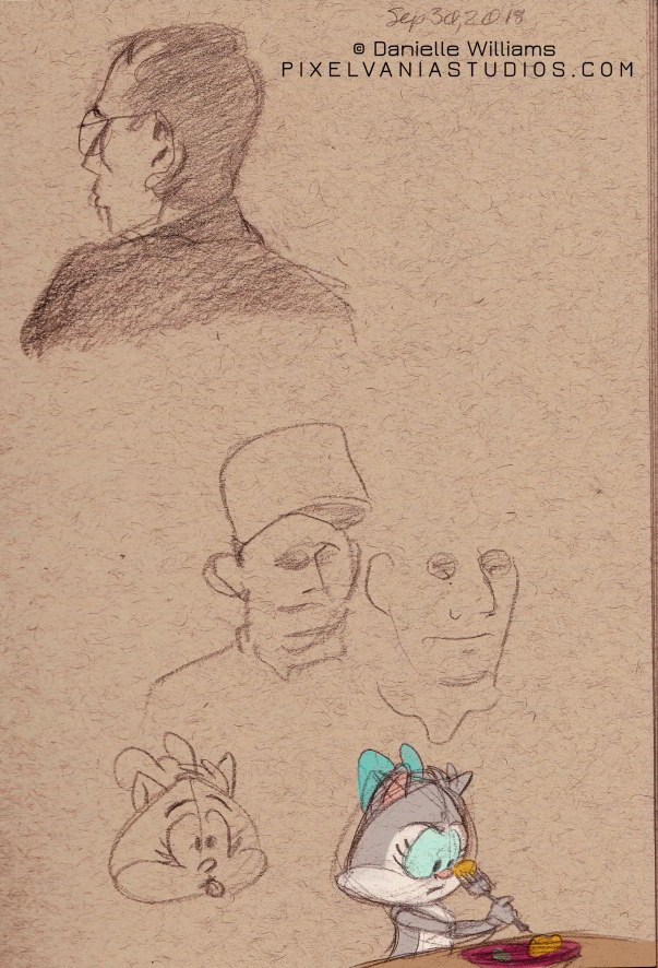 Life drawing portrait, plus Moxie vs the Mystery Meat (looks like yams to me, Mox!)