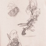 Sketches of a squargling, a sort of parroty-rabbit person