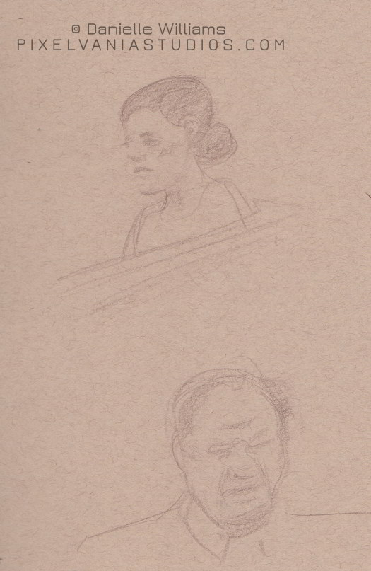 Drawings of a woman and man on toned paper