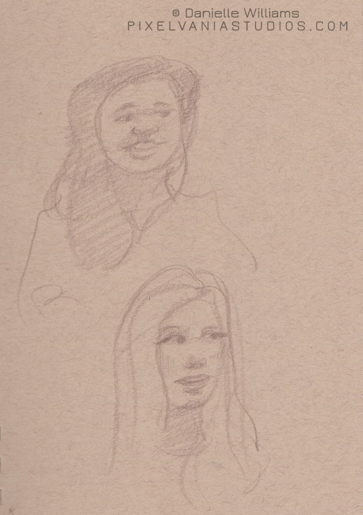 Quick portrait sketches of two sister missionary companions