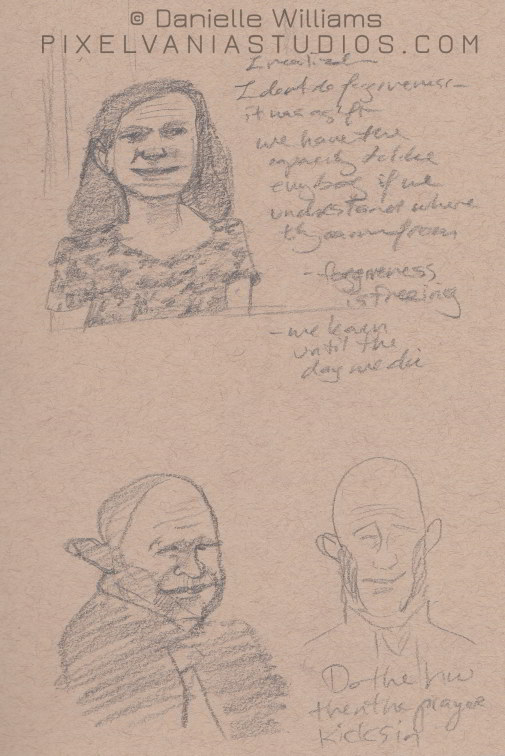 Forgiveness woman and a caricatured man below