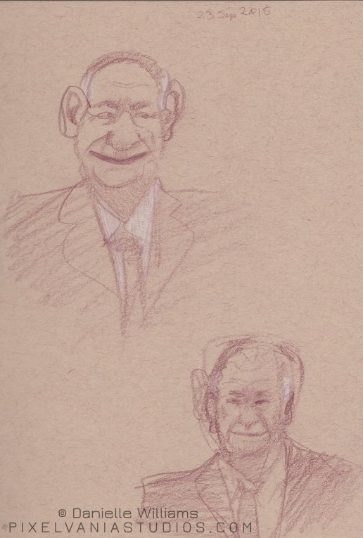 Older man's caricature and a more realistic rendering