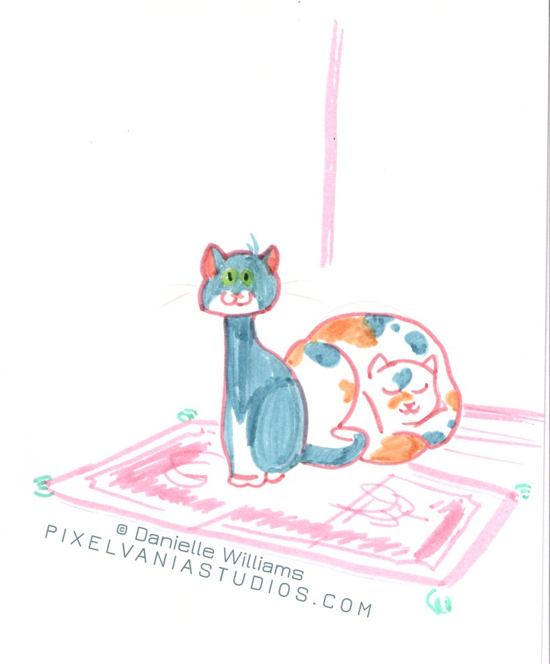 Toony gray kitty and calico type kitty sitting on a rug.