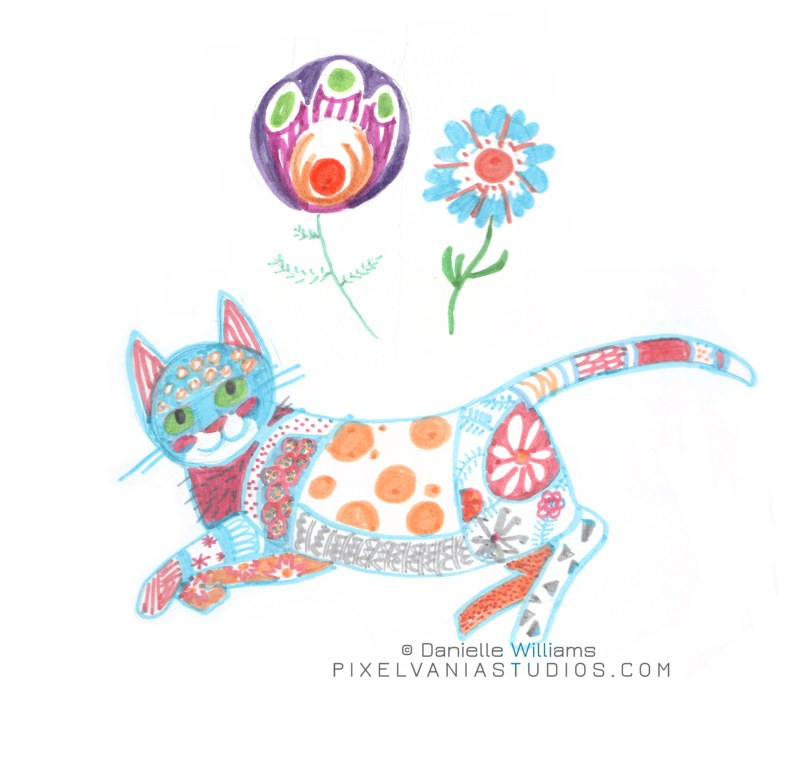Cat drawn in marker, filled in with folk art-type patterns and with two folk art flowers above