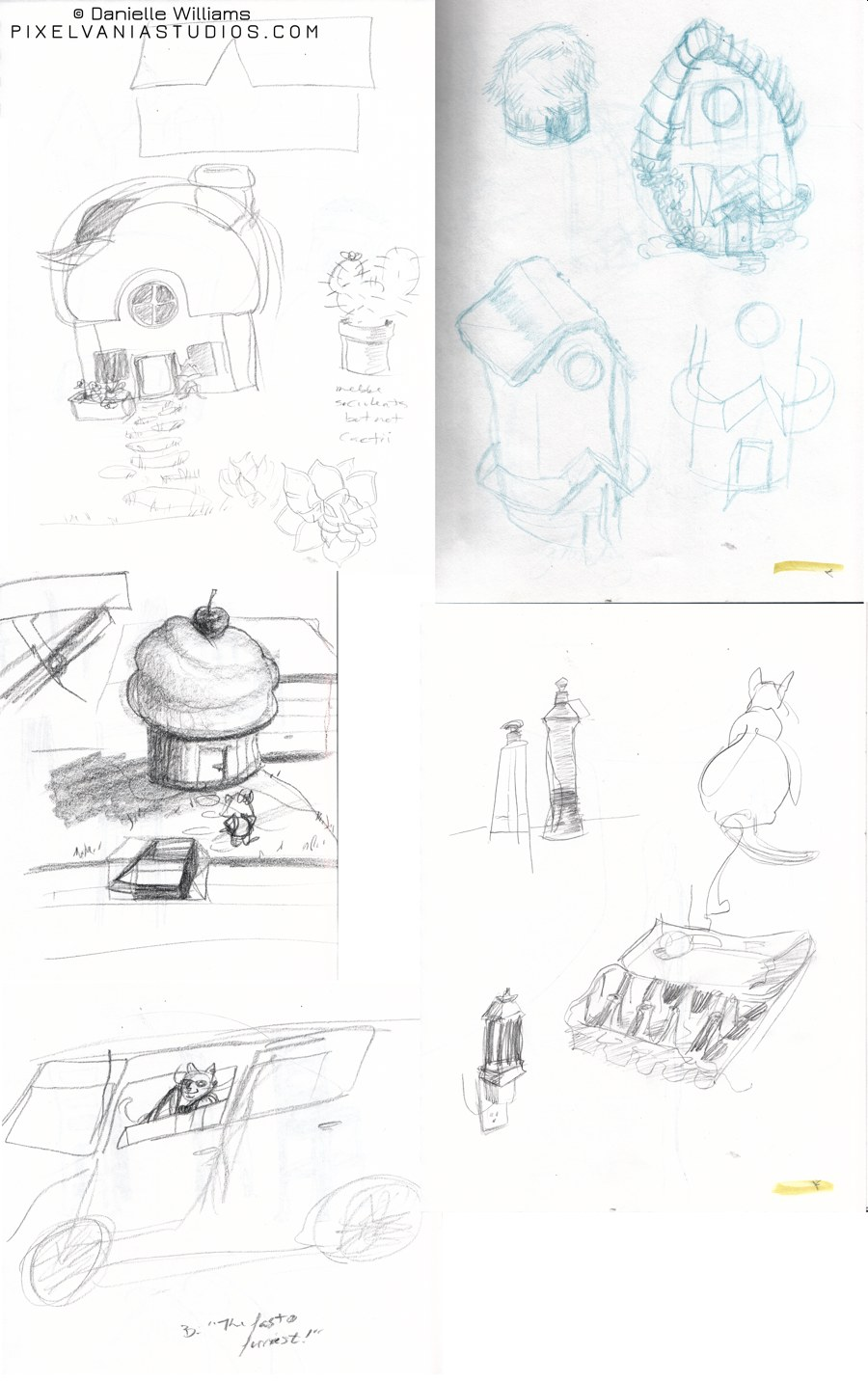 A collection of drawings, including cupcake houses and Pixel J Cat ridin' in a car.