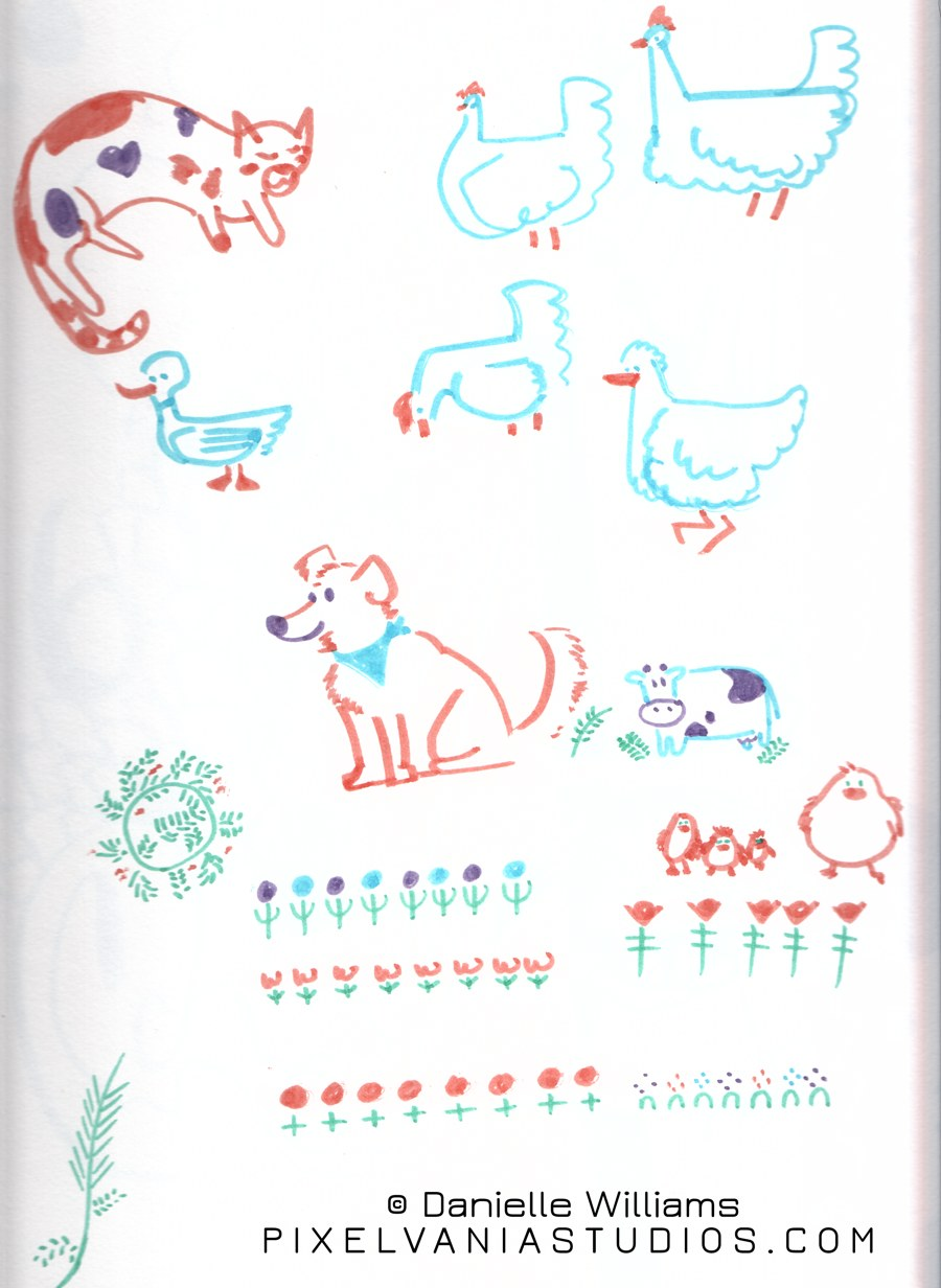 Simple cute farm animals drawn in marker