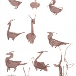 Simple pelican dragon silhouettes in marker