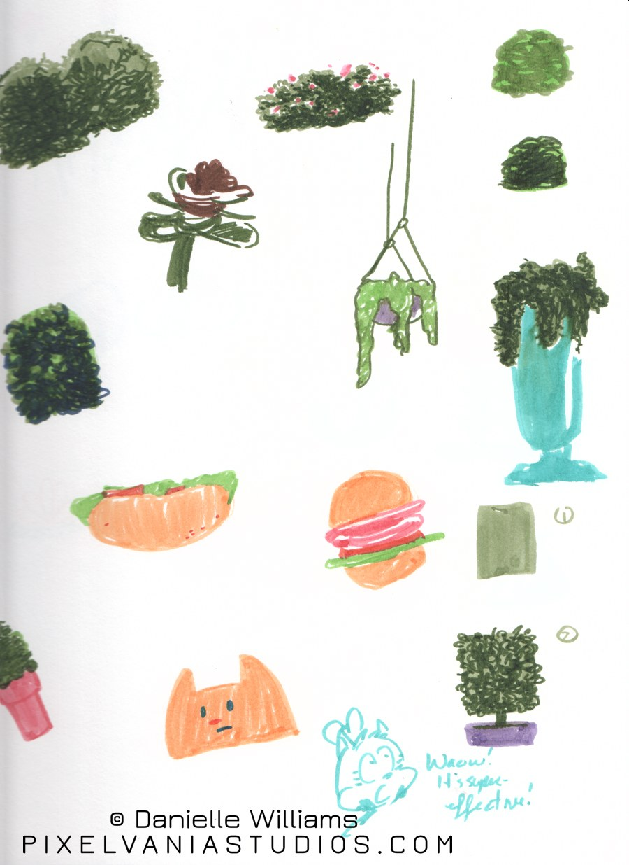 Random shrubberies done in marker (plus a Moxie Kitten cameo!)