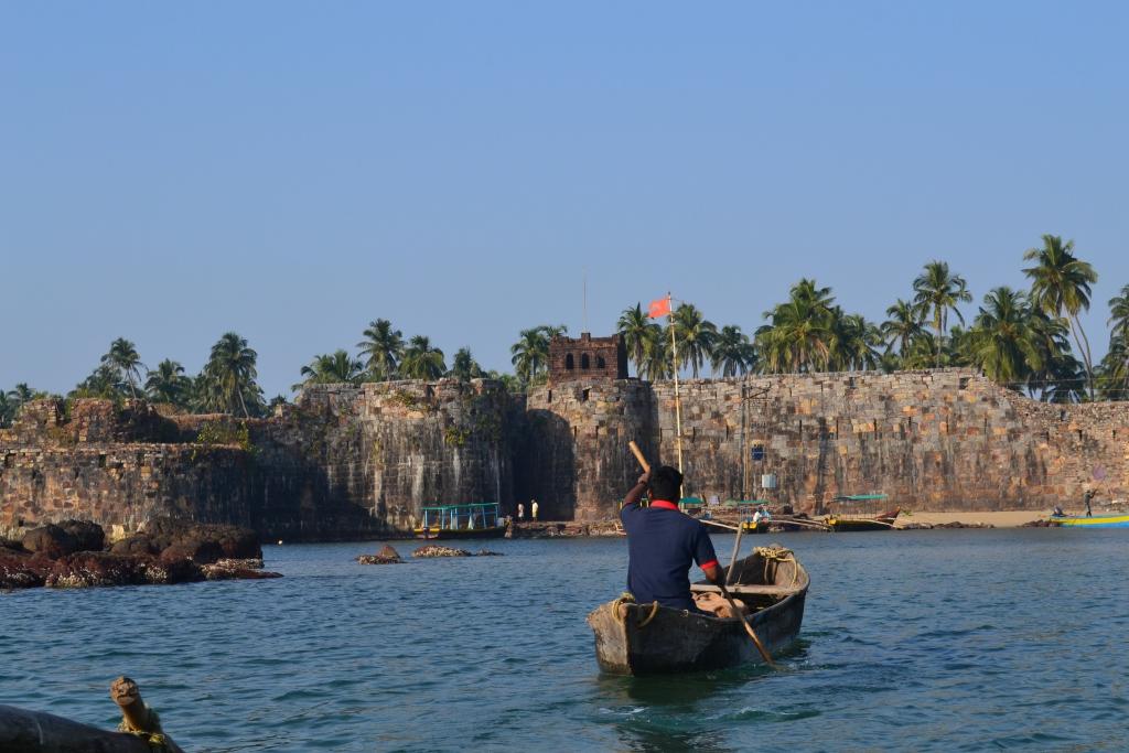 Boatman in boat near Sindhudurg Fort in Maharashtra