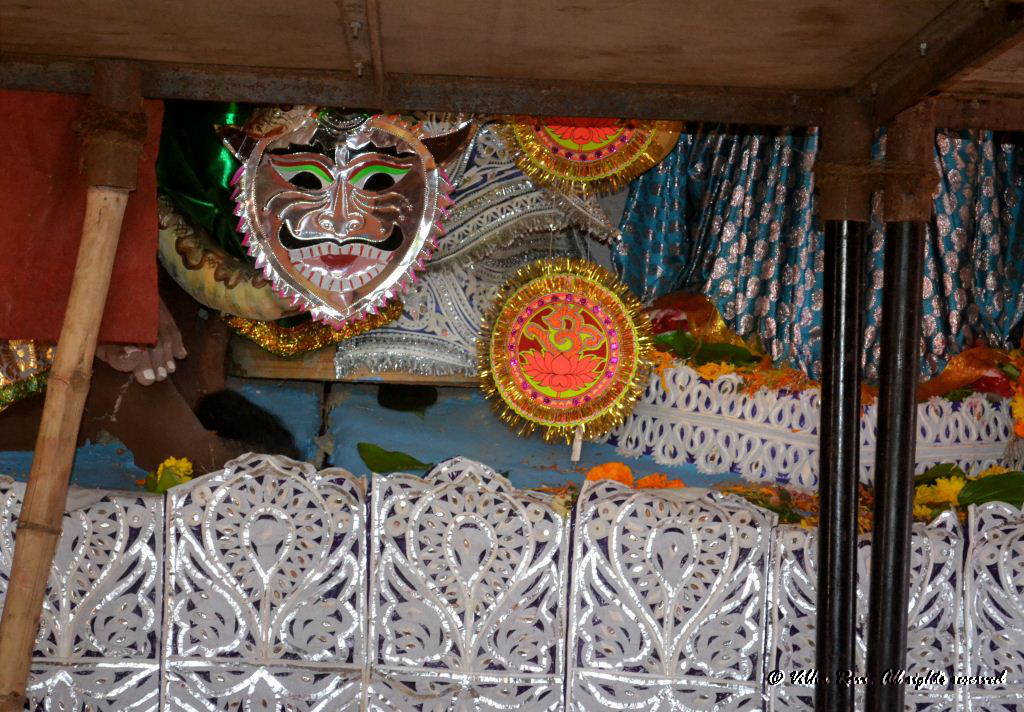 Part of the decoration at a Durga Pooja marquee