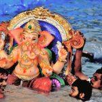 Ganesh or Ganapati idol immersion or visarjan