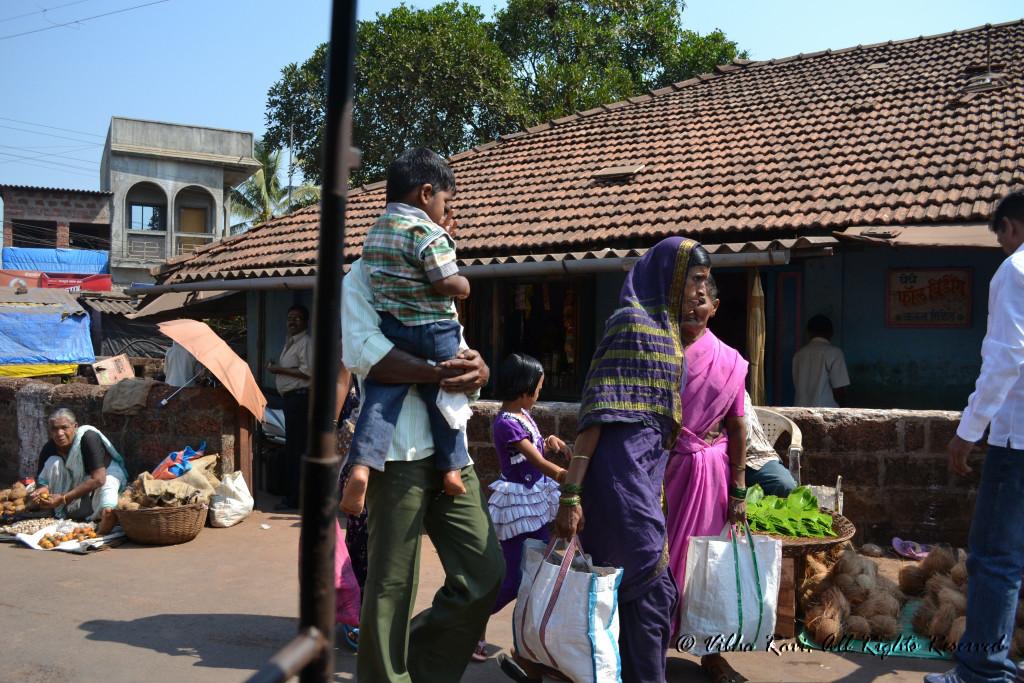 Shoppers at Tarkarli marketplace
