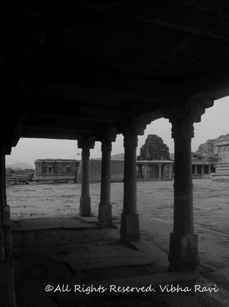 A view from one of the pillared halls at Vitthala temple