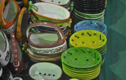 Colourful ceramic soap dishes