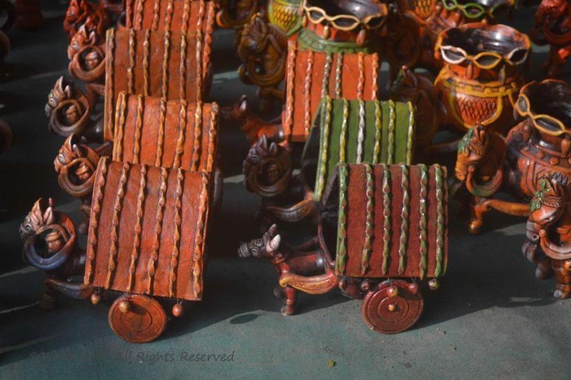 Indian Clay toys a bullock cart