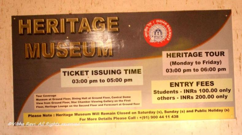 Board outside the Heritage Museum at Chhatrapati Shivaji/Victoria Terminus shows details of the heritage tour