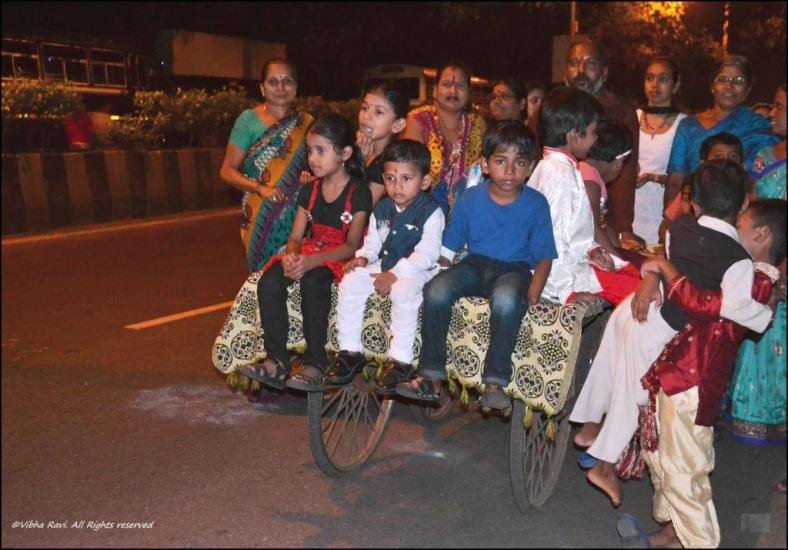 Children, who are feisty at the beginning of the procession, generally get tired by the end