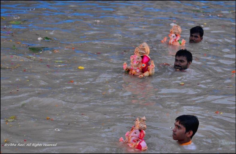Ganapati visarjan or immersion in artificial lake Thane