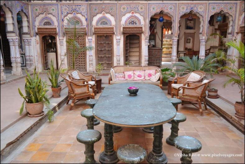 The first courtyard at Nadine Haveli in Fatehpur is now used as a modern day lounge