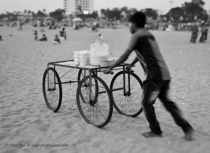 Hand cart at Kollam Beach Kerala