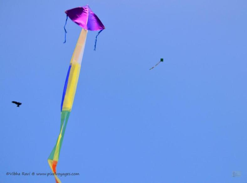 Colorful kites dot the sky at Kollam Beach