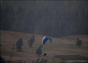 Paraglider landing in Saputara valley