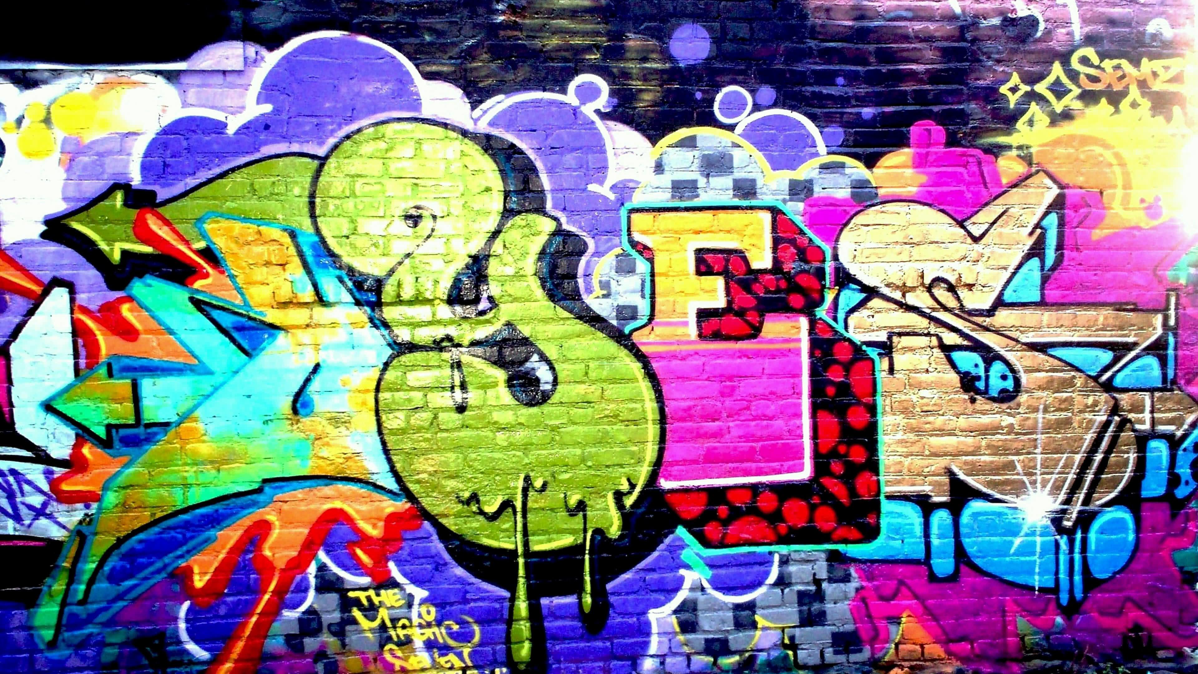 yes graffiti art on a brick wall uhd 4k wallpaper | pixelz