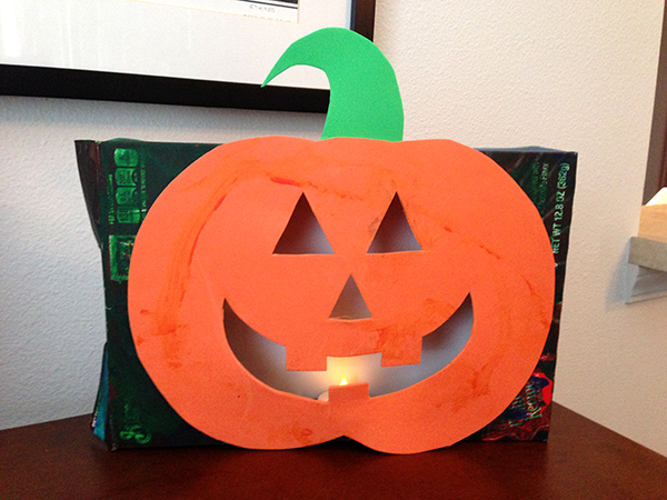 DIY Cereal Box Jack O Lantern