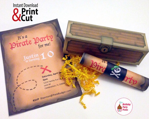 Pirate Invitation Scroll with Treasure Box Available on Etsy