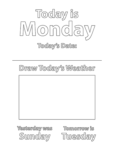 Days of the Week Coloring Sheets Pages