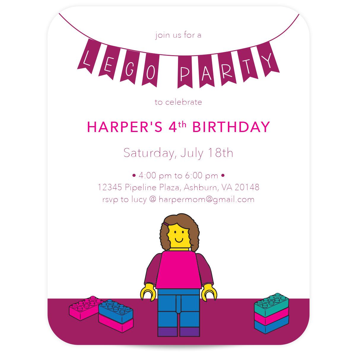 girls lego birthday invitation pink