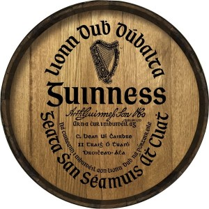 Guinness Gaelic Label Barrel Head Sign