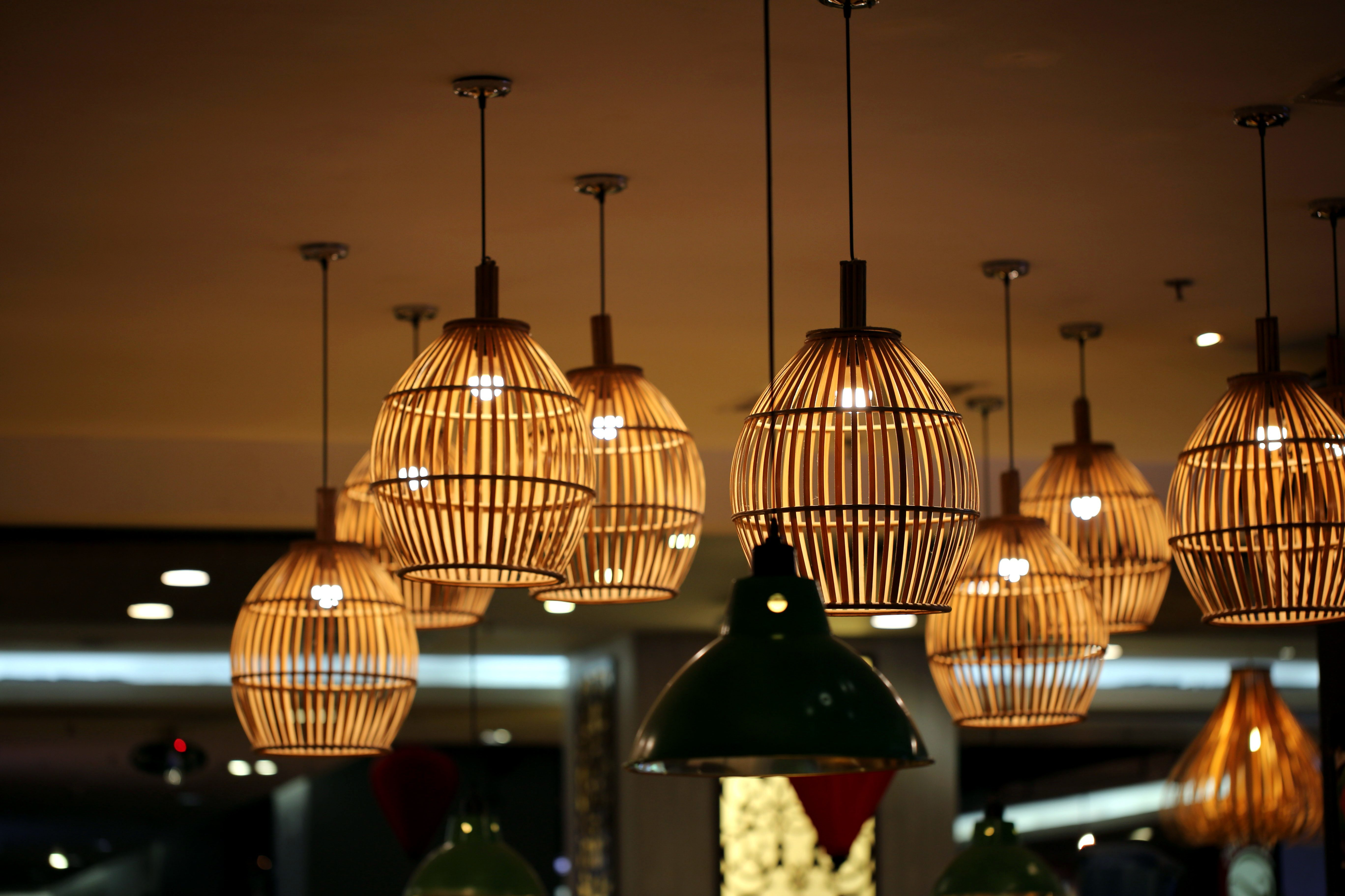Free Picture Ceiling Lamps Bamboo Restaurant