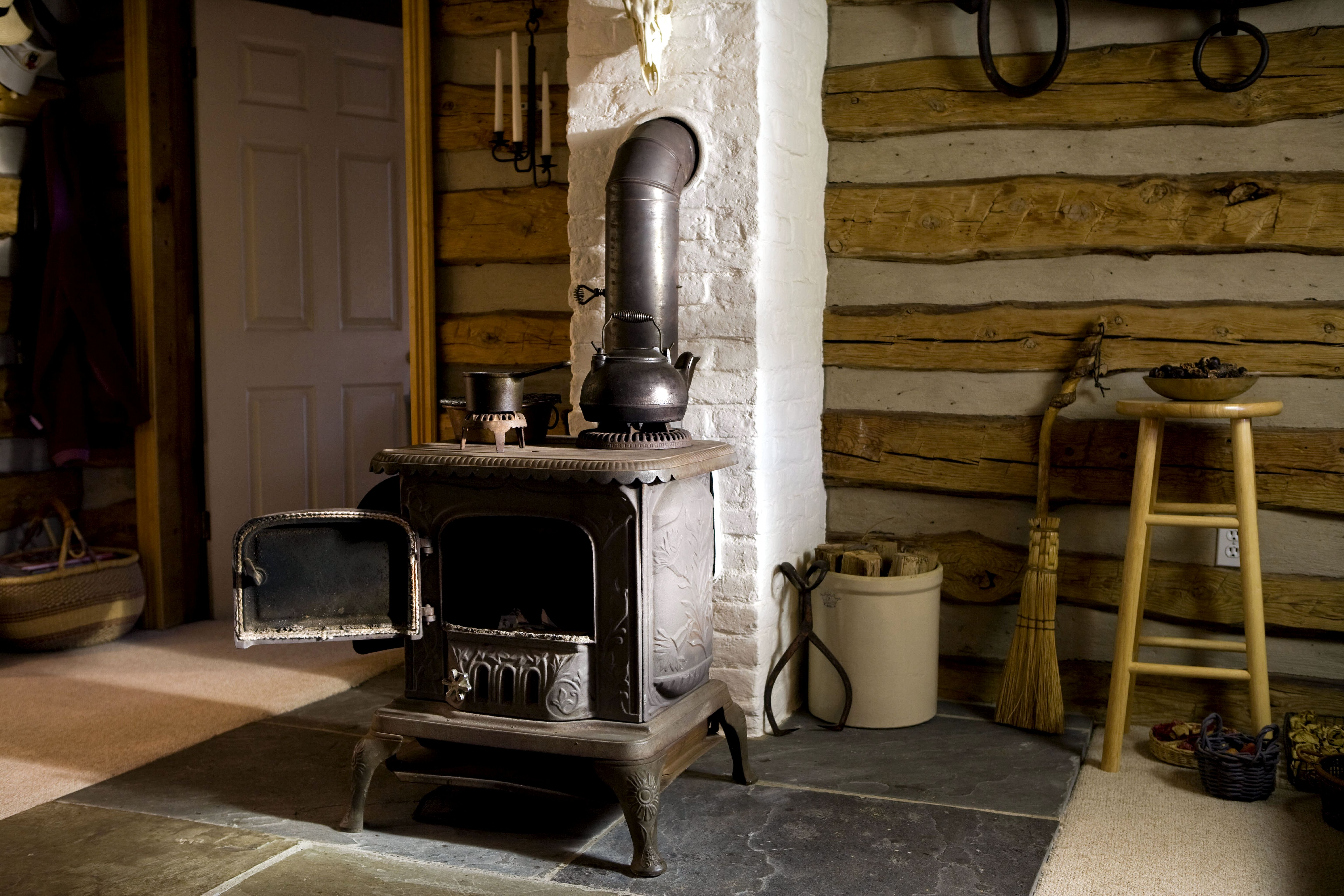 Free Picture Old Cast Iron Wood Stove Home Interior