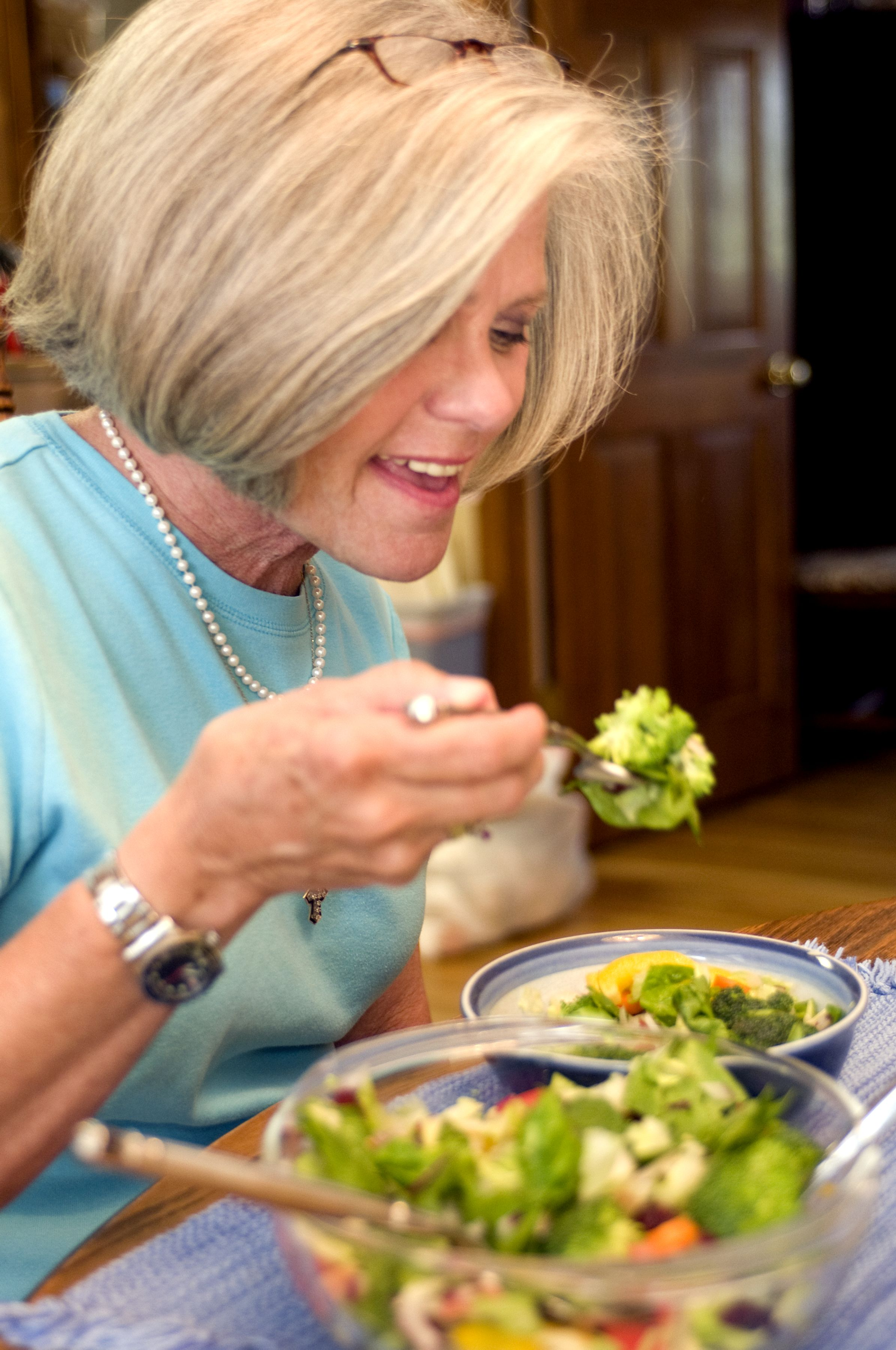 Free Picture Woman Eating Vegetable Salad Packed Full