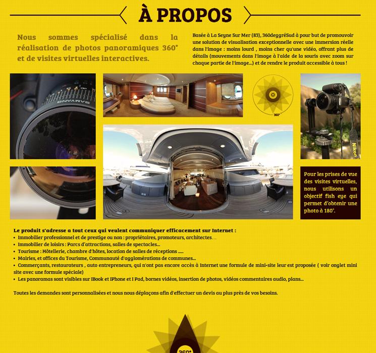 Site internet 360degresud page à propos