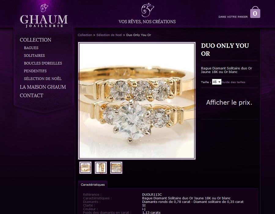 Site boutique Ghaum page produit