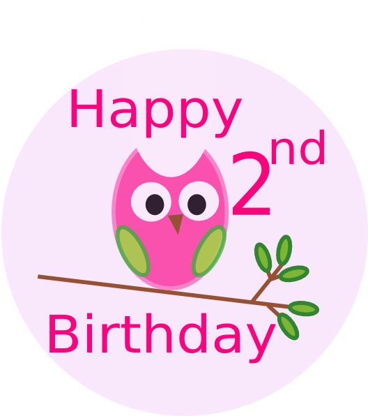 Owl Happy 2nd Birthday Drawing Free Image Download