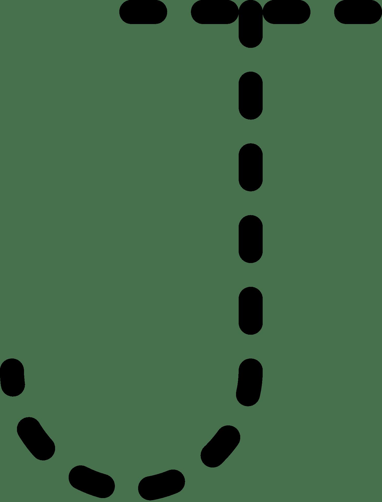 Dashed Line Of Alphabet Letter J Free Image